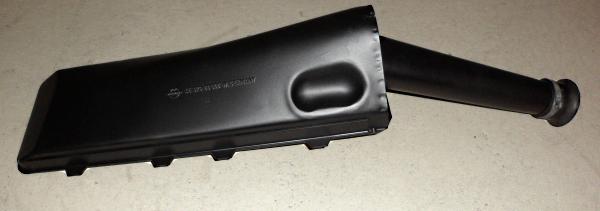 Und so sieht dann nach zwei Schichten Lackauftrag in schwarz matt das neue Gebrauchtteil aus. Ganz klar eine besser als neu Qualität.