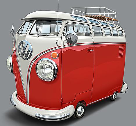 """VW Samba Bus T1. Im Original 38"""" x 38"""". Limitierter Giclée Tintenstrahlstruck auf Leinwand von Dean MacAdam."""